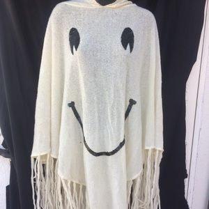 EUC Wildfox happy face sequin knit hooded poncho